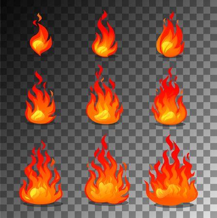 Cartoon fire animation design on transparent background. Vector fireplace illustration for animation, games etc. Иллюстрация