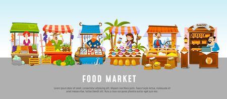Concept de bannière de dessin animé de marché alimentaire. Illustration vectorielle de l'entreprise locale