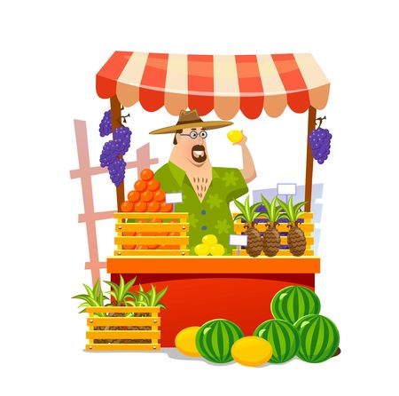 Local food market cartoon vector illustration. Fruits and vegetables shop. Vector illustration Иллюстрация