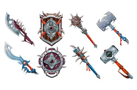 Big set of ancient weapon elements for games. Vector game set isolated on white background Иллюстрация