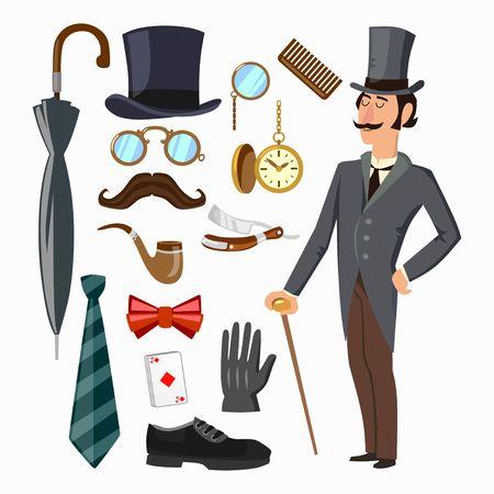 Set di forniture per gentiluomini. Cappello, ombrello, gentiluomo, cravatta, guanto, uomo ecc. Illustrazione di cartone animato vettoriale Vettoriali
