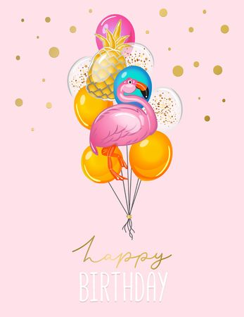 Happy Birthday greeting card with balloons on pink background. Cute flamingo and pineapple balloons card for invitation or print. Vector illustration