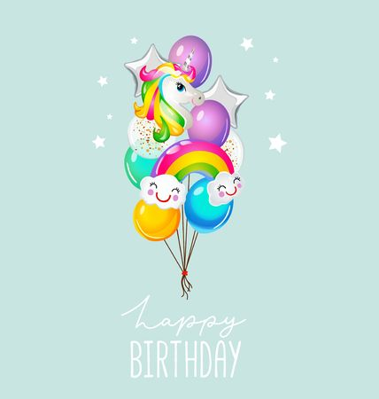 Happy Birthday greeting card with balloons on blue background. Cute unicorn and rainbow balloons card for invitation or print. Vector illustration
