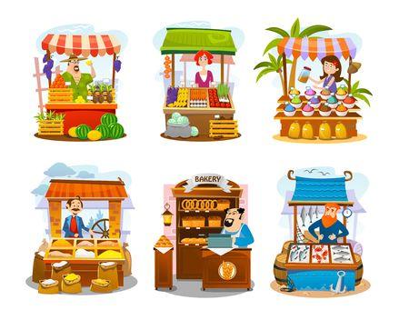 Cartoon street shops set. Fruits, vegetables, spices, grains, seafood and bakery markets. Vector local business illustration Иллюстрация