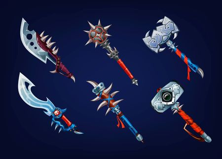 Big set of old weapon elements for games. Vector game supplies set