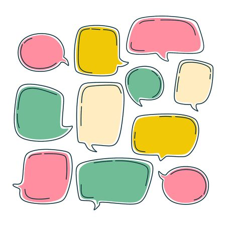Colorful bubble speech set. Dialogue templates with different colors isolated on white background.