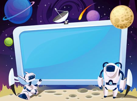 Cartoon space background with empty computer screen in the middle. Vector cosmic illustration for party, greeting card, invitation, certificates etc Иллюстрация
