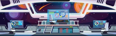 Design d'intérieur de vaisseau spatial de dessin animé. Illustration vectorielle