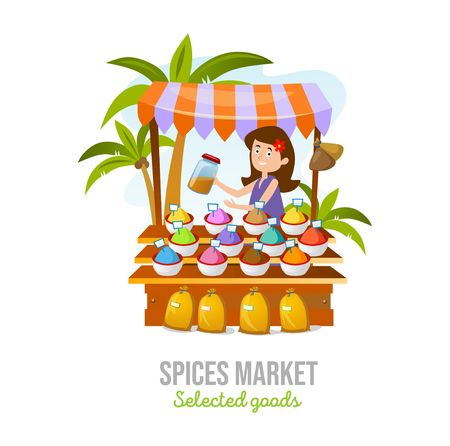 Spice market isolated on white background. Cartoon spice shop. Local business vector illustration