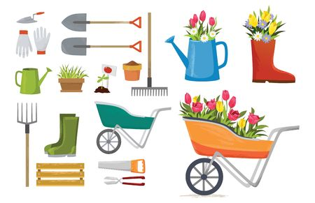Set of colorful spring elements and decorations for garden. Vector spring cartoon set