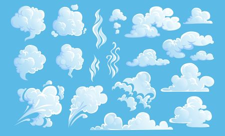 Steam clouds set. White cartoon sky and steam clouds on blue background. Vector illustration Иллюстрация