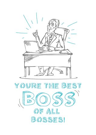 Boss day inspirational and motivational greeting card with inscription Best boss of all bosses! and doodles. Greeting card or print for Bosss day. Vector illustration