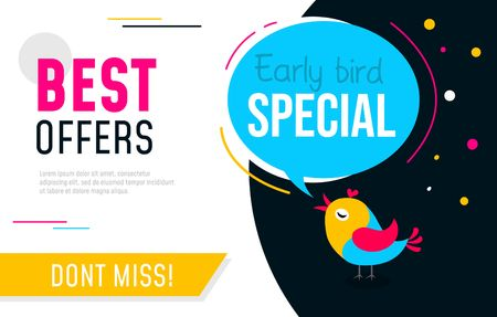 Early bird special flyer or banner design template. Early bird discount promotion. Vector illustration Illustration