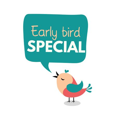 Early bird special flyer or banner design template. Early bird discount promotion. Vector illustration Çizim