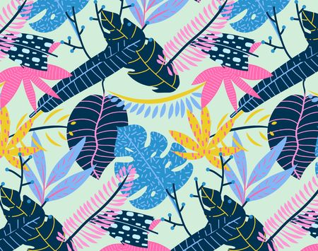 Abstract tropical summer background. Vector seamless tropical pattern.
