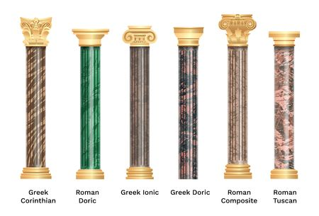 Realistic ancient pillars set isolated on white background. Different architecture pillars with stone effect. Classical columns vector set. Çizim