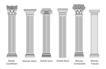 Ancient pillars set isolated on white background. Different architecture pillars with stone effect. Classical columns vector set. Archivio Fotografico - 121638320