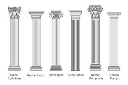 Zestaw starożytnych filarów na białym tle. Filary o różnej architekturze z efektem kamienia. Klasyczne kolumny wektor zestaw.
