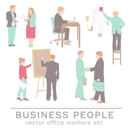 Office people concepts in line drawing style. Set of colleagues isolated on white background. Vector business characters illustration