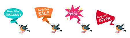 Early bird discounts and sales banners set isolated on white background. Early bird promotions. Vector illustration