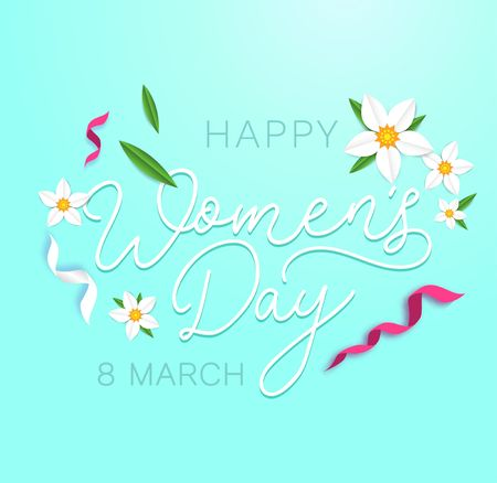 Happy womens day greeting card with flowers, ribbons and cute background. International womens day greeting card.Vector illustration Illustration