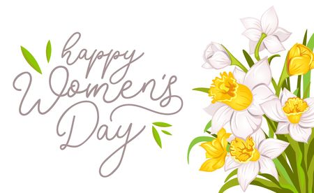 Happy womens day greeting card with narcissus and white background. International womens day greeting card.Vector illustration