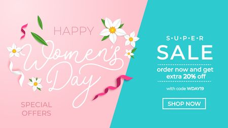 Happy women's day sale banner with greeting card. International women's day promotion.Vector illustration Illustration