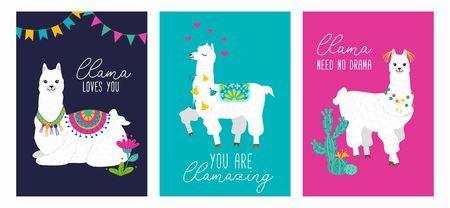 Set of cute card with alpacas. Inspirational llamas posters with colorful design and inspirational quotes. Llama loves you. No drama llama. You are llamazing. Vector llama illustration