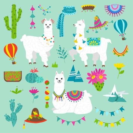 Set of cute alpacas and hand drawn elements. Llamas and cacti vector illustration. Summer design elements for greeting cards, baby shower, invitation, posters etc. 矢量图像