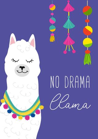 No drama llama inspirational inscription with hand drawn llama and doodles. Cute vector alpaca illustration for greeting cards, posters, invitations, textile etc.