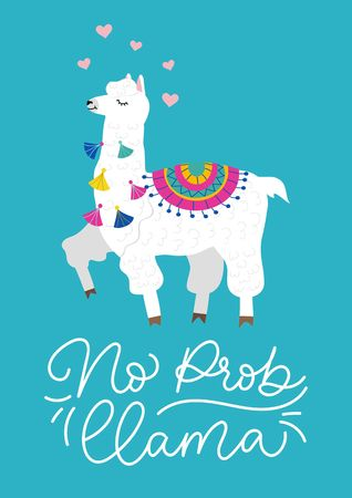 No prob-llama inspirational lettering inscription with hand drawn llama, tassels and hearts. Cute vector alpaca illustration for greeting cards, posters, invitations, textile etc. Иллюстрация