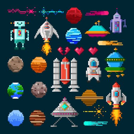 Set of pixel art elements for space war game. Pixel planets, spaceships, aliens, astronaut, fire etc. Vector illustration for games in retro style.