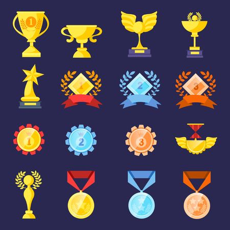 Trophy medals and cups set isolated on blue background. Cartoon trophy elements for games, web, icons, packages etc. Vector illustration Иллюстрация