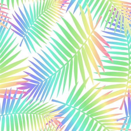 Summer seamless pattern with tropical leaves. Colorful summer print for textile, cards, posters etc. Vector tropical illustration
