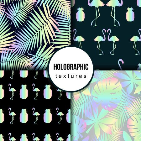 Set of summer seamless patterns with tropical leaves, flamingo,pineapple and holographic effect. Colorful summer print for textile, cards, posters etc. Vector tropical illustration Vectores