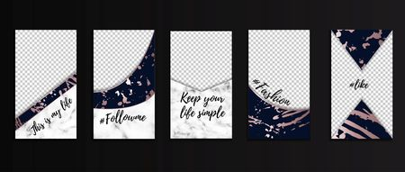Editable stories templates for bloggers, business, etc. Social networks design concepts with marble texture, navy blue and rose gold colors.