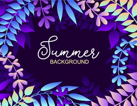Colorful summer background with leaves. Vector illustration for summer of summer invitations, posters, greeting cards etc.