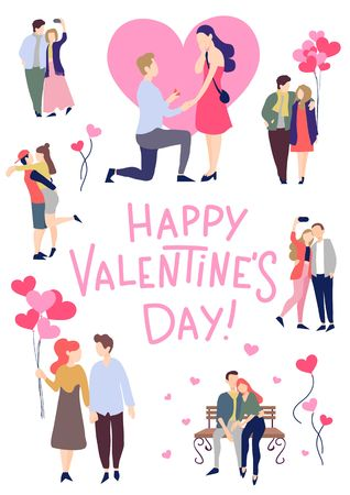Valentines day greeting card with couples in love and lettering. Trendy greeting card for people in love. Vector illustration
