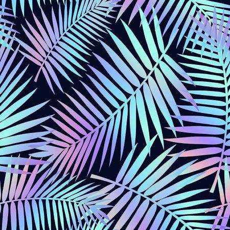 Summer seamless pattern with tropical leaves and holographic effect. Colorful summer print for textile, cards, posters etc. Vector tropical illustration