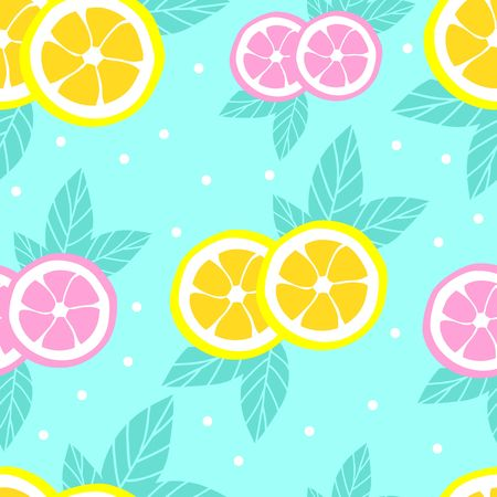 Tropical pattern with lemons in flat style. Sweet and colorful summer background. Vector illustration