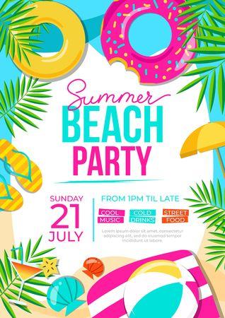 Sommer-Strandparty-Poster. Bunte Einladung zum Sommerfest. Vektor Sommer Hintergrund