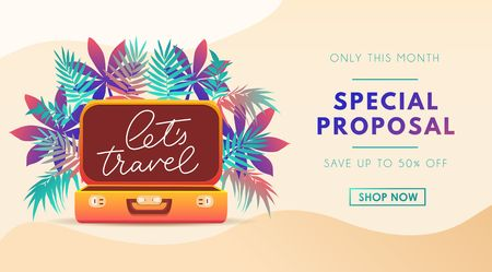 Travel poster template for travel agency, flyer, banner or print. Summer Vacation design template. Tropical illustration with leaves, lettering and suitcase. Vector illustration