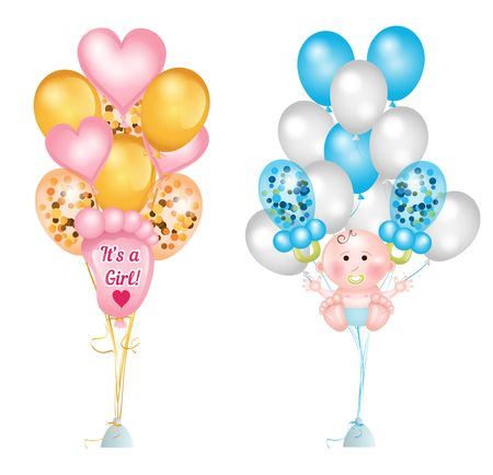 Set of cute balloons for baby shower. Baby footprints, baby boy, baby pacifier, heart balloons and balloons with confetti. Vector greeting balloons set isolated on white background Иллюстрация
