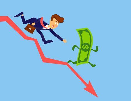 Financial crisis concept. Money loss. Money inflation vector design. Businessman chasing money. Stock crash cartoon illustration Foto de archivo - 124790320