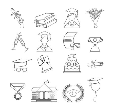 Set of icons for graduation. Linear graduation elements for invitations, posters, greeting cards etc. Graduation icon vector set.