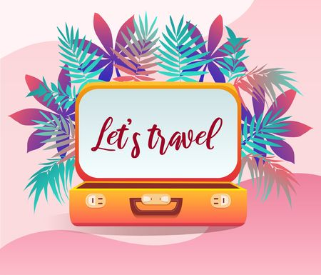 Summer tropical poster with inscription lets travel. Trendy summer tropical design for party invitations, greeting cards. Vector summer illustration Иллюстрация