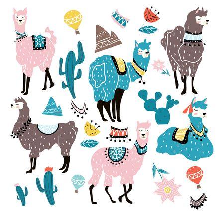 Set of hand drawn alpacas in scandinavian style. Llama illustration with decorative elements. Vector illustration Иллюстрация