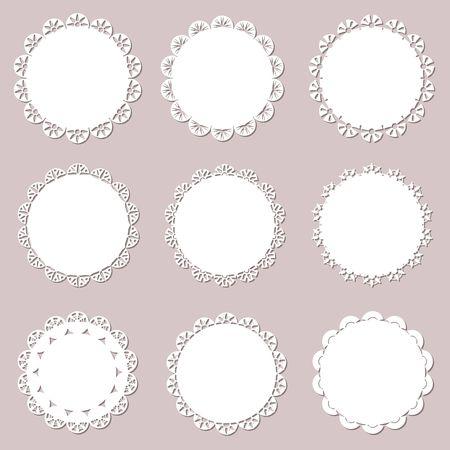Set on vintage doilies on craft paper background. Lace paper cutout for napkins, laser cut. Vector illustration Vecteurs