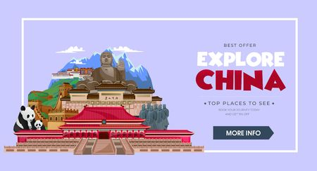 China travel concept. Beautiful China travel destinations. Explore Asia trip illustration. Vector travel design concept.
