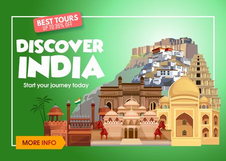 DIscover India travel banner. Trip to India design concept. India travel illustration. India Travel promo banner. Vector India destinations. Illustration